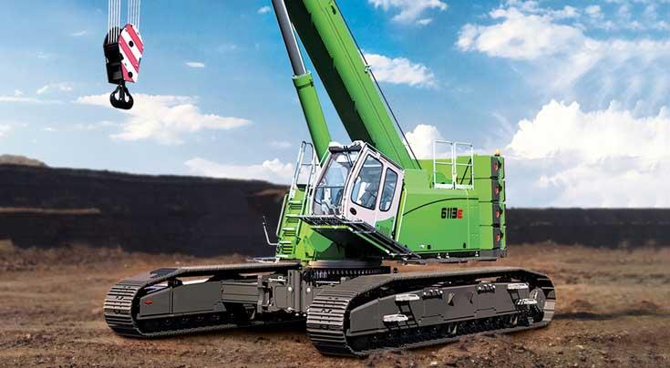 Der 6113 hat eine maximale Auslegerl�nge von 67 m und 120 t Traglast. Foto: Sennebogen