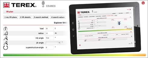 Planungstool f�r die vereinfachte Vorbereitung von Mobilkran-Eins�tzen: Bedienoberfl�che von Terex Lift Plan. Foto: Terex Cranes