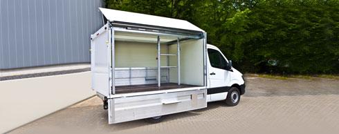 Freier Zugang: Der B�se Supporter verf�gt �ber ein Schwenkwandsystem. Foto: B�se Fahrzeugbau