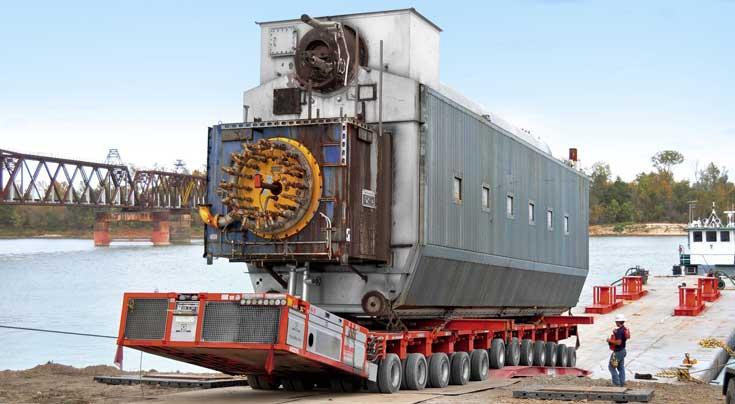 Schweres Ger�t f�r anspruchsvolle Transport- und Montageeins�tze: Auch in diesem Jahr reichten die bewegten Schwergutmassen bis in den f�nfstelligen Bereich. Foto: Goldhofer
